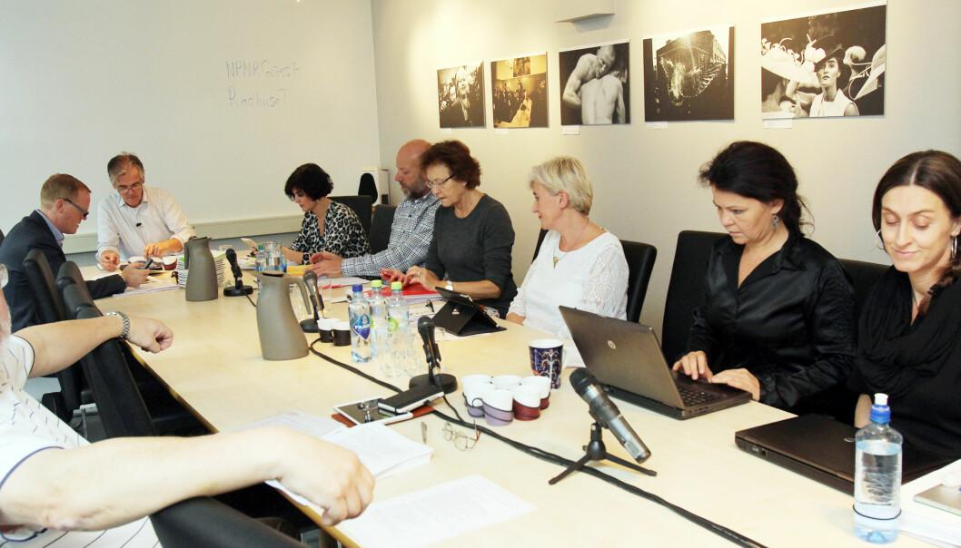 Pressens Faglige Utvalg behandlet saken mot VG 24. mars i år. Tone Jensen i hvit genser. Foto: Birgit Dannenberg