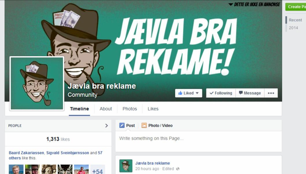 Fra Jævla bra reklame-siden på Facebook