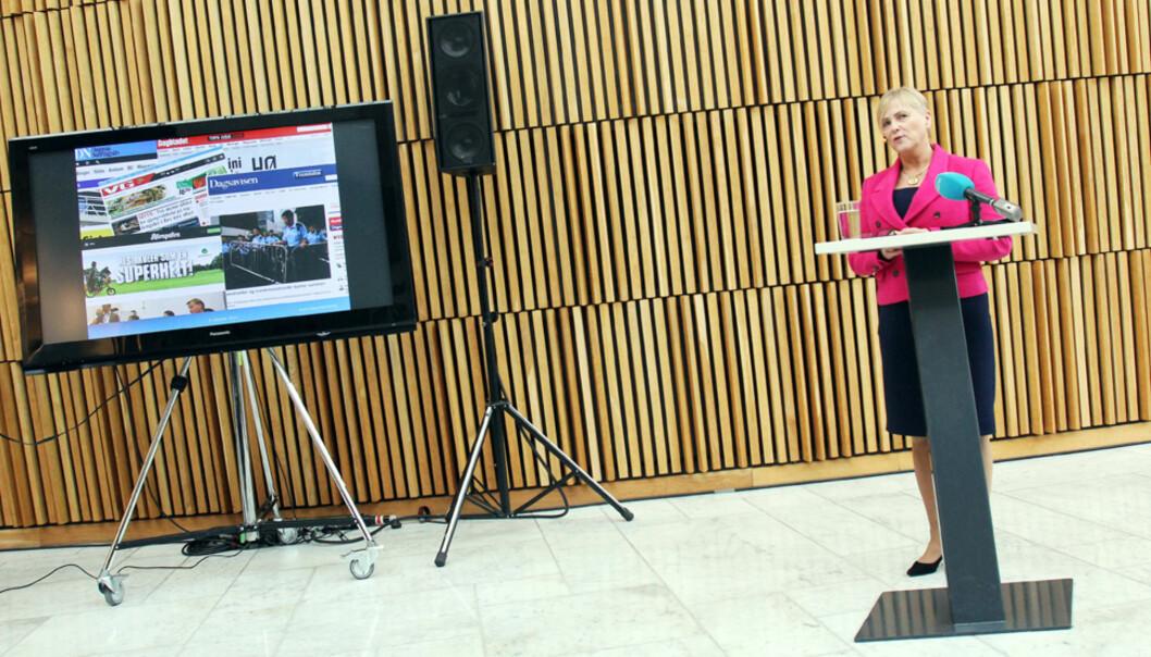 Kulturminister Torhild Widvey legger frem statsbudsjettet for 2015. Foto: Birgit Dannenberg