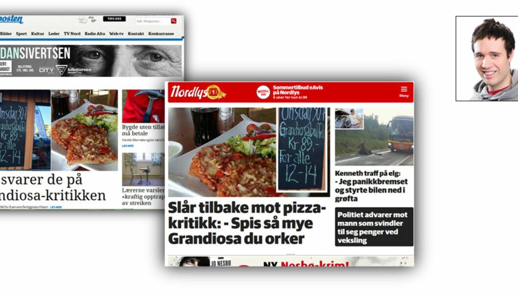 Slik ser ett av oppslagene ut der Altaposten mener Nordlys opptrer som en parasitt. Foto: skjermdump/privat