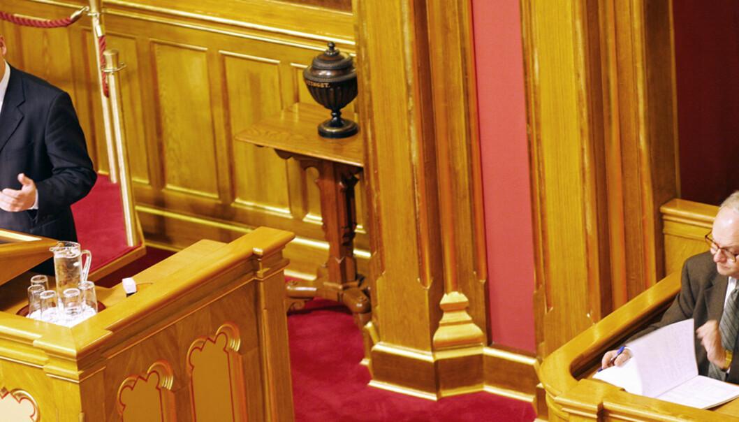 Fotografene får ikke ta bilder fra første rad på galleriet i Stortinget, og fra salen når det ikke er møter. Foto: Kathrine Geard