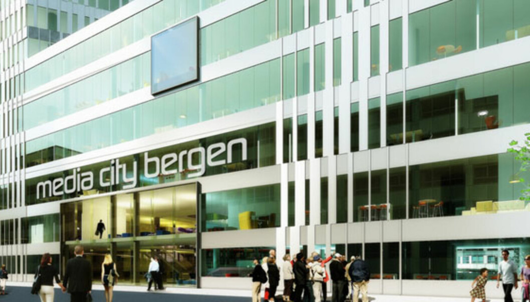Slik ser mediene for seg inngangen til det nye mediehovedkvarteret i Bergen. Foto: TV 2/Flickr.com