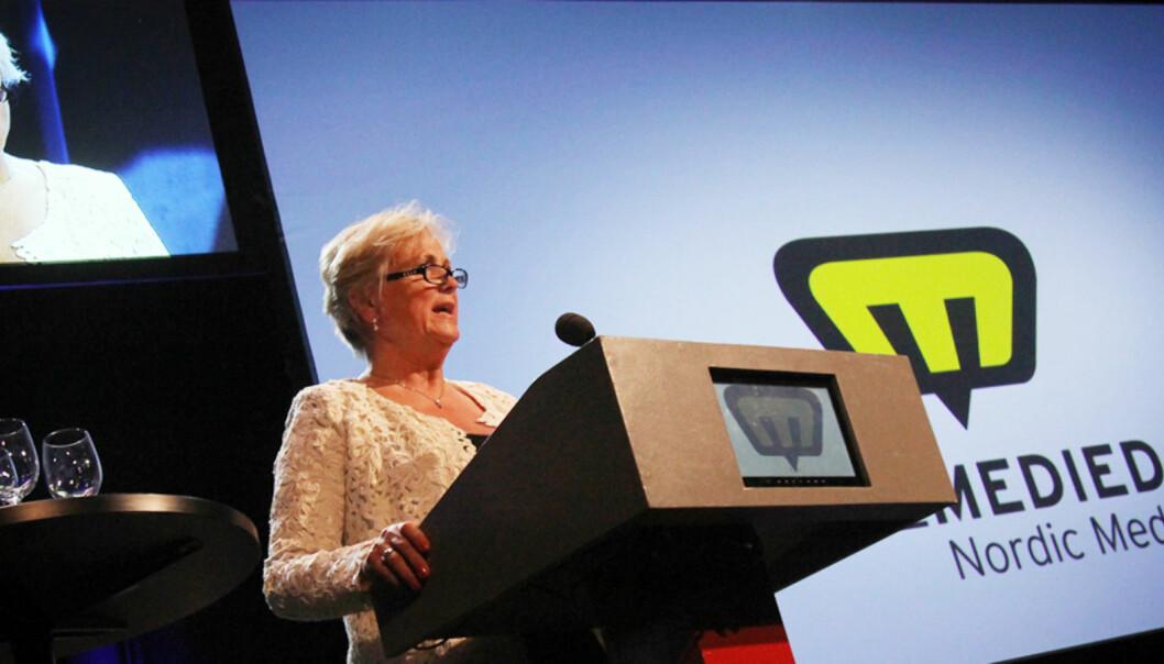 Kulturminister Thorhild Widvey vil legge frem forslag om felles lavmomssats for papir og digitalt Foto: Birgit Dannenberg