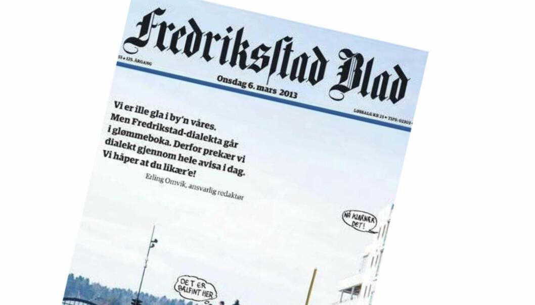 Dialektavisen til Fredriksstad Blad var en suksess. Nå er avisen kåret til årets avis.