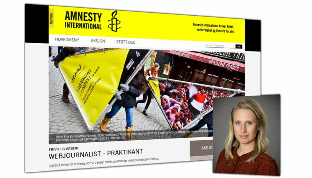 Amnestys utlysning, Kristin Rødland Buick innfelt. Fotomontasje: Journalisten
