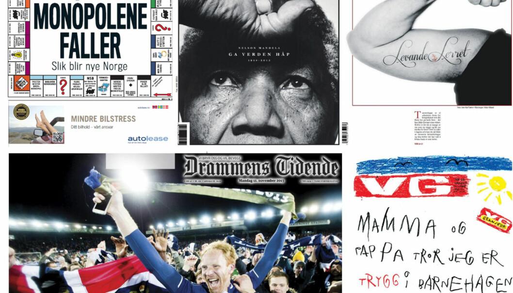 En av disse blir årets avisforside 2013. Finansavisen 9. oktober, VG 6. desember, Kvinnheringen 22. november, Drammens Tidende 11. november eller VG 11. mars.