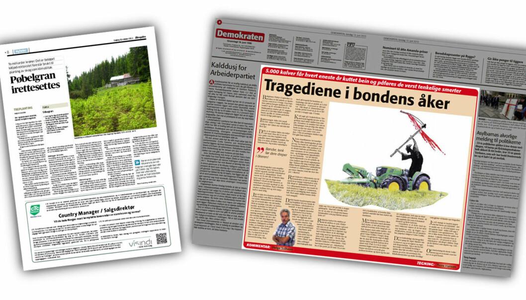 Faksimile Aftenposten 30. oktober 2013 og Demokraten 13. juni 2013.