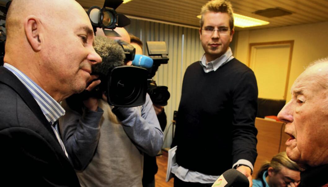 Redaktører og andre kritikere mener 90-årige Arne Pedersen burde fått flere kritiske spørsmål fra pressen. Her fra da saken i Ofoten tingrett startet. Foto: Ragnar Bøifot / Fremover / NTB scanpix