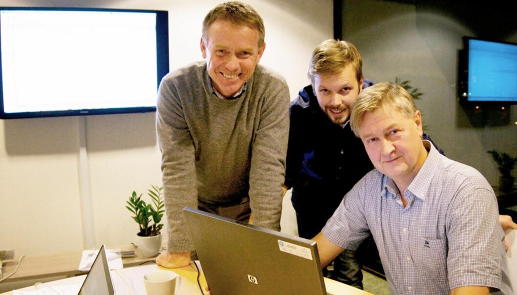 GRÜNDERE: Ogne Øyehaug (t.v.), Olav Sindre Kriken og Kjetil Haanes er spente på mottakelsen av den nye næringslivsportalen Nett.no. Foto: Nett.no