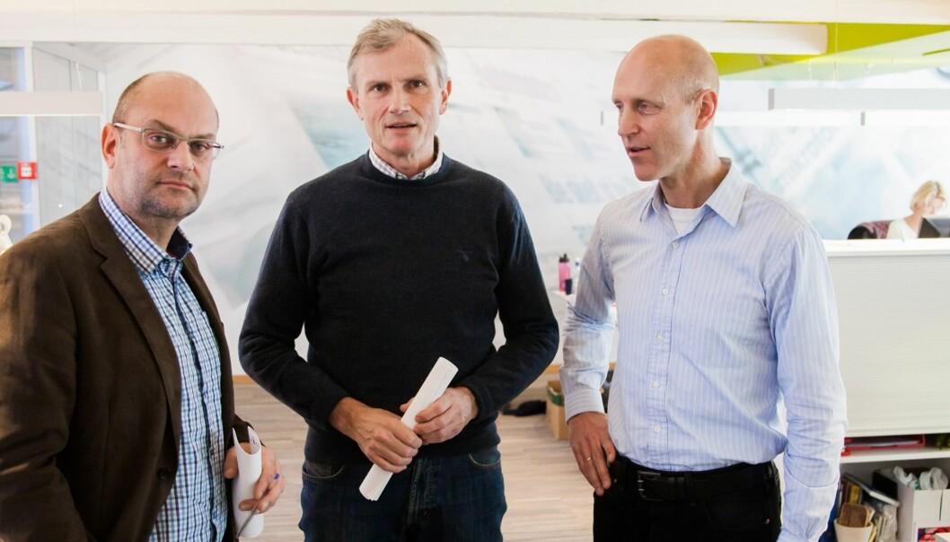 Morten Rød (til venstre), her sammen med styreleder Nils Gauslaa og administrerende direktør Øyvind Klausen. Arkivfoto: Kathrine Geard