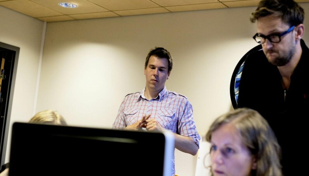 SATSER: Dagsavisen-sjef Eirik Hoff Lysholm (t.v.) satser på å gjenopplive Fremtiden som en sonet utgave, med Lars West Johnsen som prosjektredaktør.
