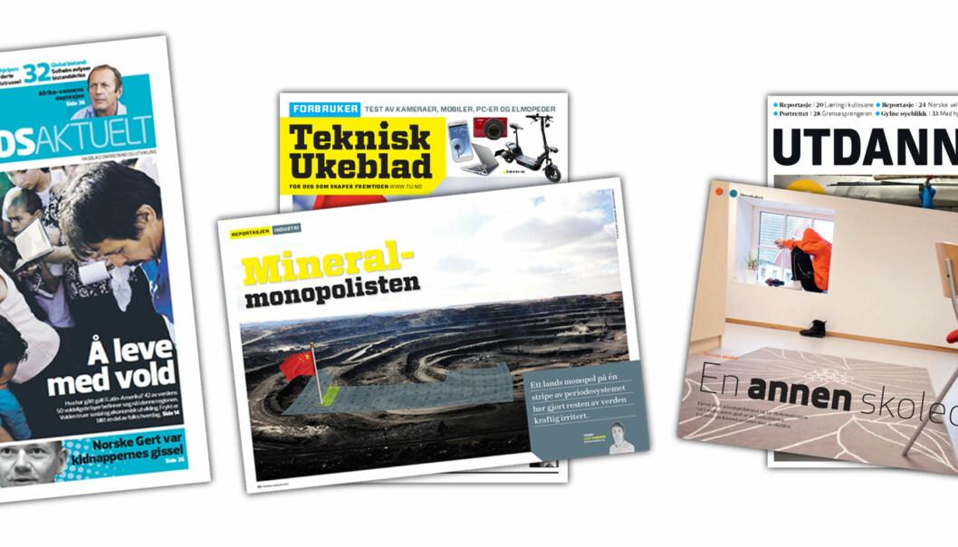 HEDRET: Bistandsaktuelt, Teknisk Ukeblad og Utdanning mottok de kanskje tre gjeveste prisene under årets prisdryss i fagpressen. Illustrasjon: Faksimiler/Journalisten
