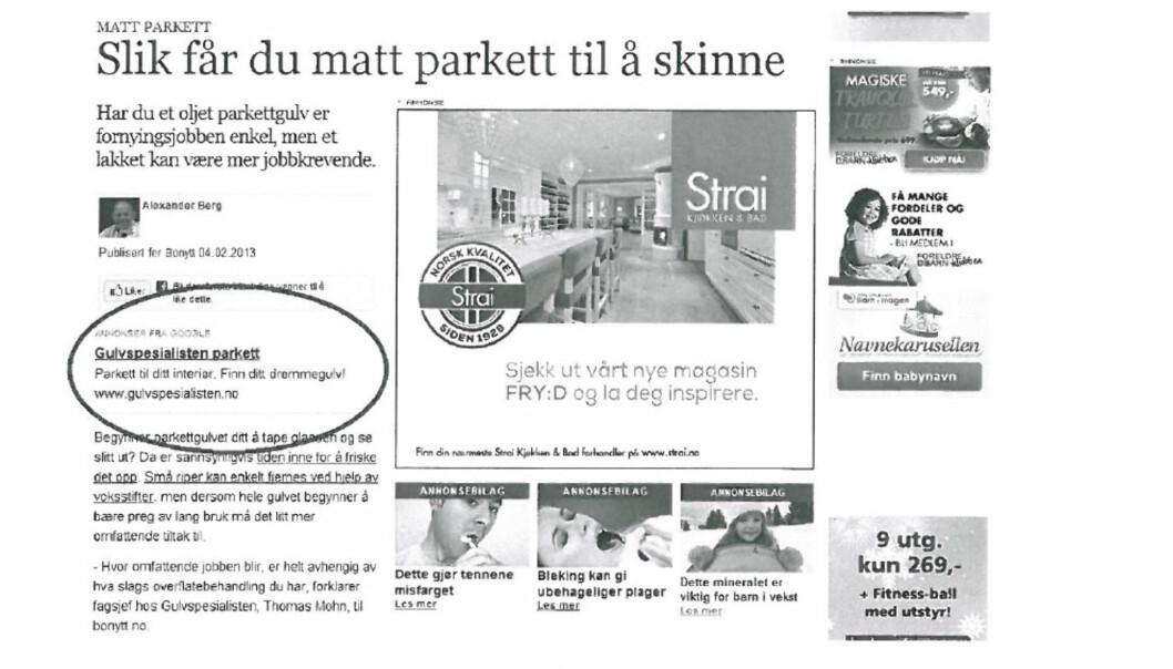 FELT: Slik var annonsen som Per Edgar Kokkvold reagerte på. Nå har PFU strammet inn på bruk av Google-annonser. Faksimile PFU-klage.