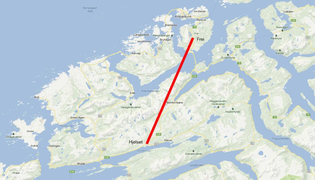 LOKALISERINGSDEBATT: Langs denne aksen kan et nytt regionalt sykehus bli plassert. Molde og Kristiansund står mot hverandre i den allerede langvarige sykehusstriden. Illustrasjon: Google Maps/Journalisten