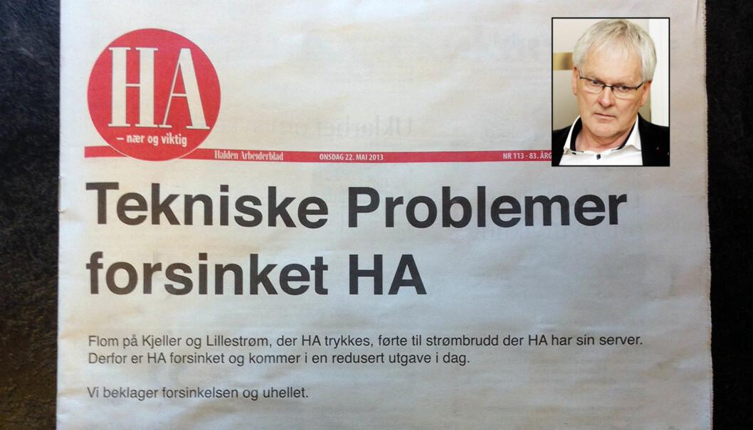 En rekke gamle A-presseaviser kom torsdag ut i redusert form. – Blant våre mest alvorlige hendelser, sier kommunikasjonsdirektør Stig Finslo (innfelt) om flommen.