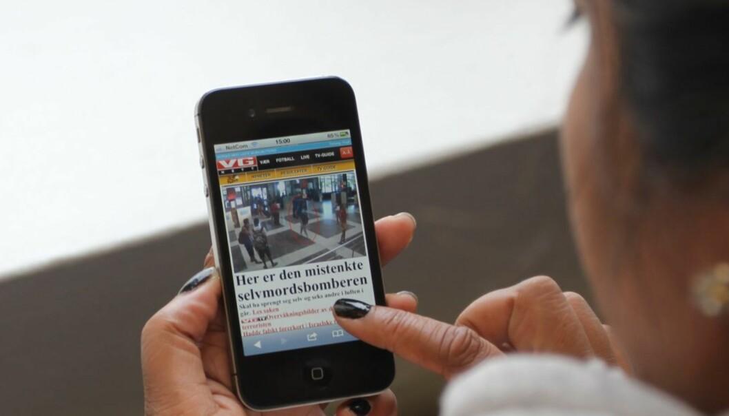 Som forventet går leserne til mobilen. Bort fra både papir og nett. Foto: Glenn Slydal Johansen