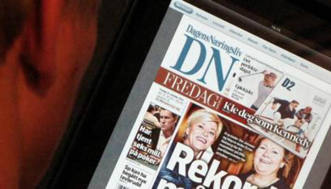 Dagens Næringsliv venter på leserne på nettbrett. Arkivfoto