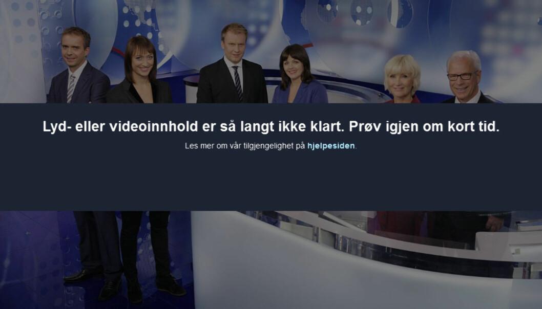 Dette møter seere som forsøker å se Dagsrevyen 12. januar i opptak. Skjermdump fra NRK.no