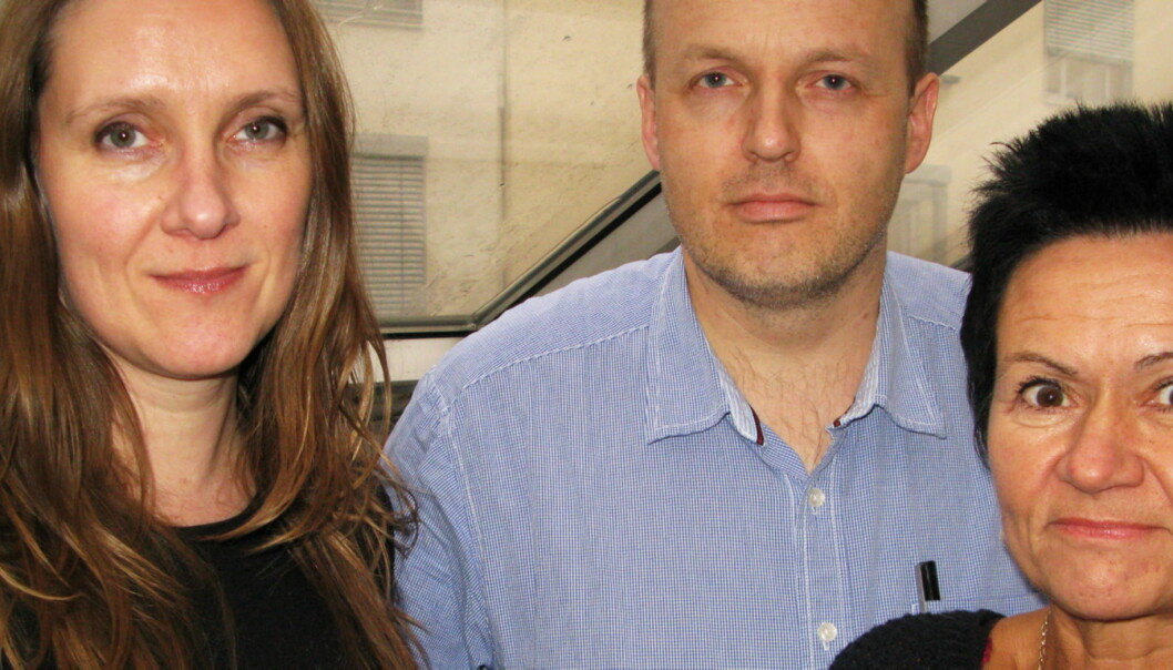 Fra venstre konserntillitsvalgt Eva Stenbro, NJA-styremedlem Lars Døvle Larssen og NJA-leder Britt-Ellen Negård.