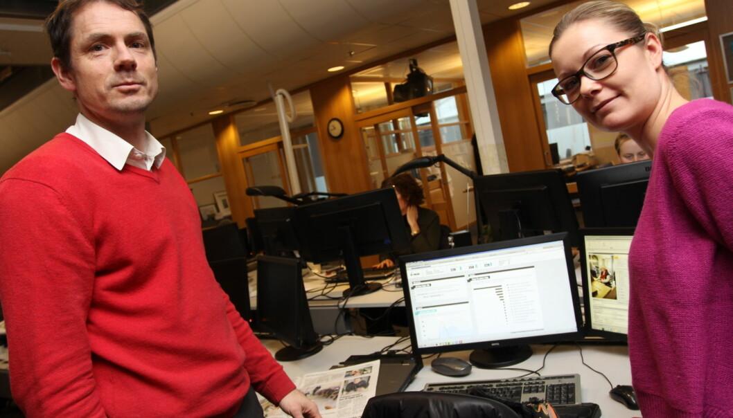 DTs redaktør Geir Arne Bore og prosjektleder for DT+ Siw Myhre. Foto: Birgit Dannenberg