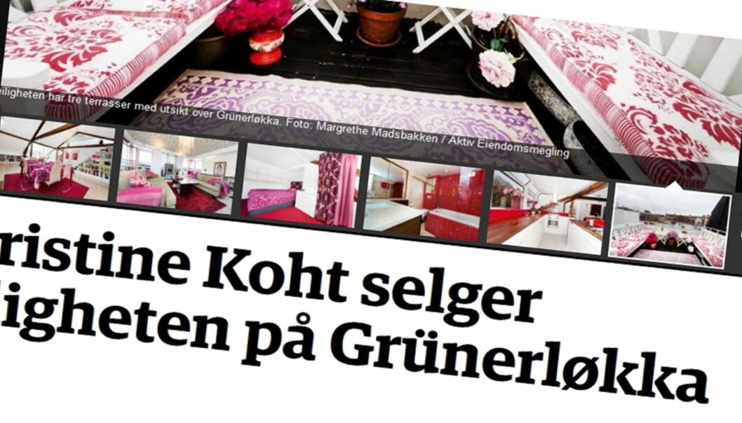 Med seks bilder fra Christine Kohts leilighet omtaler Dagbladet salgsprospektet. Bildene er alle hentet fra Finn-annonsen.