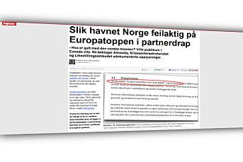Dagbladet ettergikk partnerdrap-påstand