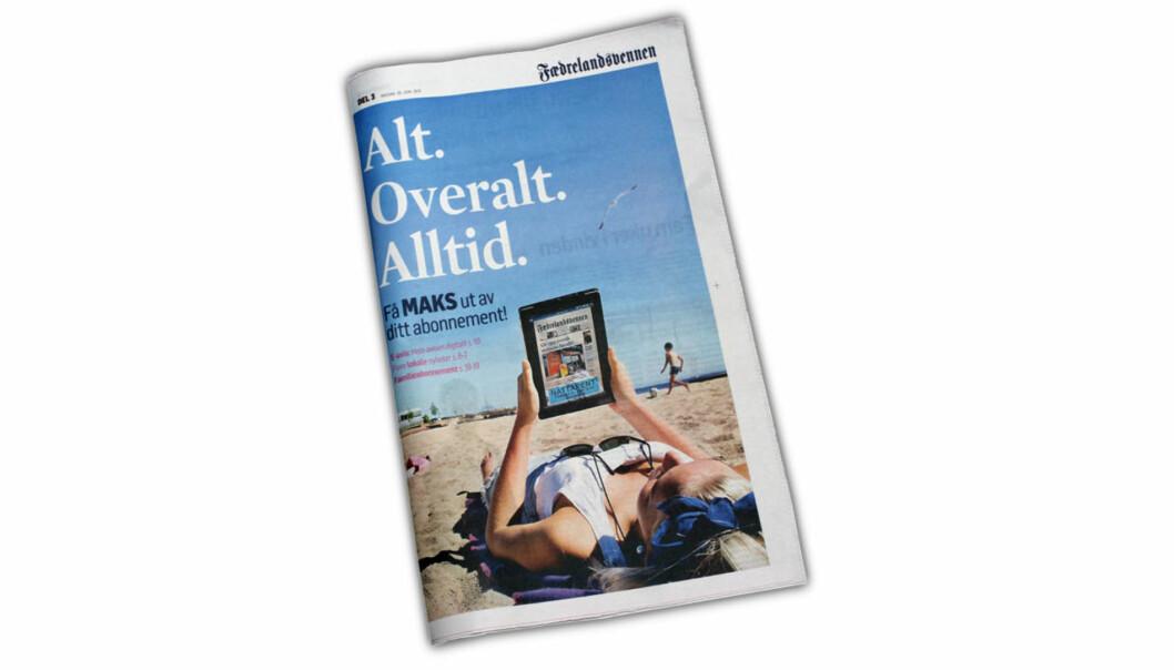 20. juni fulgte dette bilaget med Fædrelandsvennen. Det var i sin helhet viet avisens nye nettbetalingsløsning.