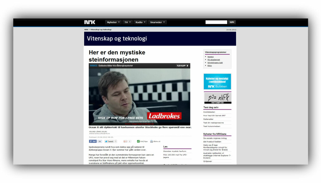 Denne reklamen fikk du se om du klikket på en video på NRKs nettsider denne uken.