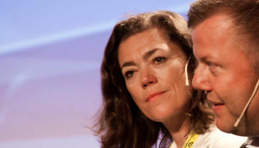 Kristin Skogen Lund går inn som nestleder i A-pressens styre. Her fra en paneldebatt med blant annet Hans Jacob Christensen under mediedagene i fjor. Foto: Kathrine Geard