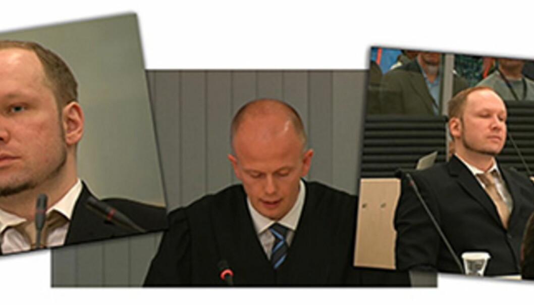 Rolig i retten. Breivik sitter tilsynelatende helt uberørt og lytter til aktor Svein Holdens innledningsforedrag. Skjermbilder fra NRK Nett-TVs overføring.
