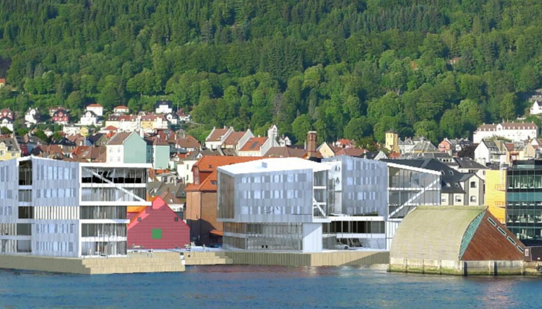 Slik så planene om en medieklynge på Nøstet ut på et tidlig stadium i fjor høst. Montasje: Rambøll/Bergens Næringsråd