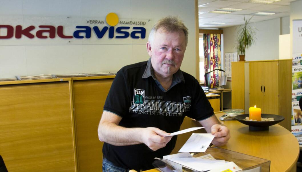 Redaktør Borgar Jønvik i Lokalavisa Verran-Namdalseid kan glede seg over at avisa blir godt mottatt i lokalsamfunnet. Foto:Kathrine Geard