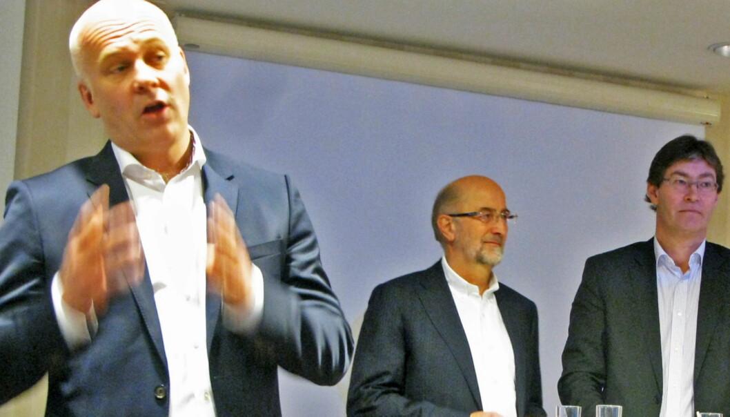 Konsernsjef Thor Gjermund Eriksen (venstre) har hentet penger fra eierne Telenor ved Erik Nord (midten) og LO ved Jon Hippe. Foto: Martin Huseby Jensen