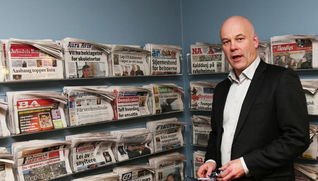 Thor Eriksen A-pressen  Thor Gjermund Eriksen har vært på handletur i London. Nå får han snart enda flere avistitler på veggen. Foto: Kathrine Geard