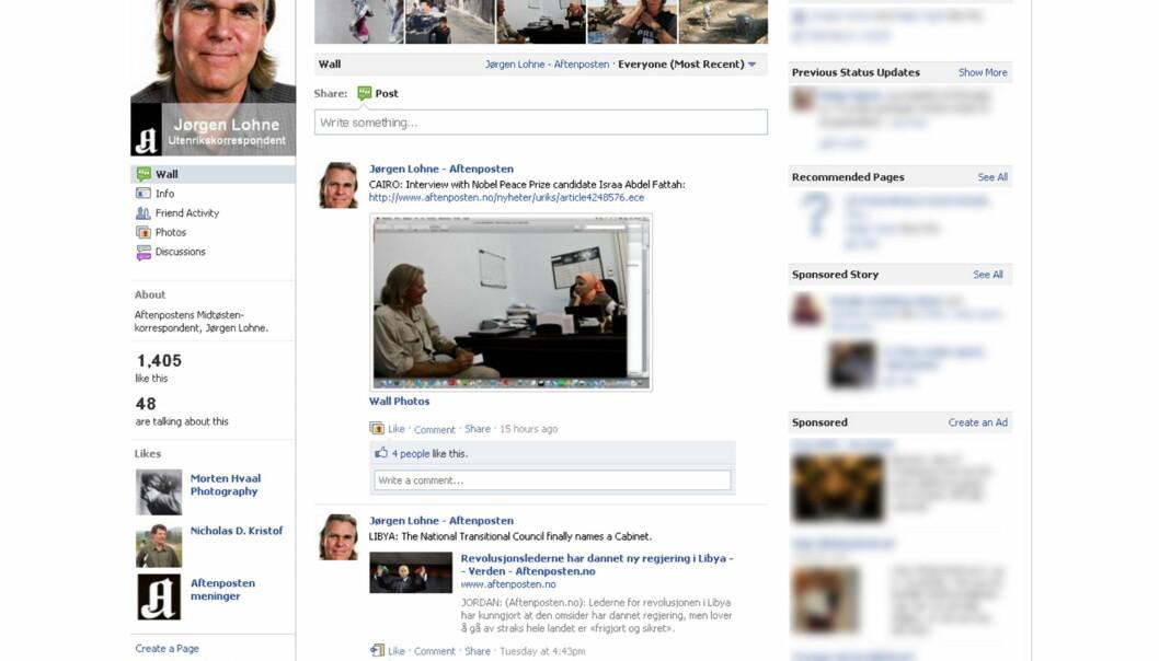 Jørgen Lohne har en profesjonell side på Facebook. Faksimile