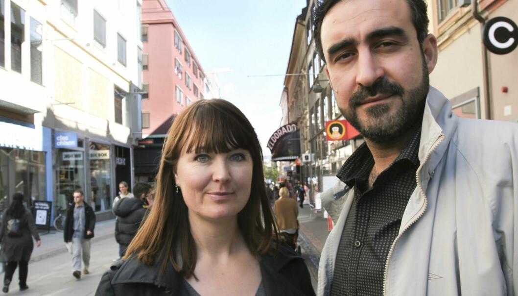 Ammar al-Hamdan, fotograf i Al Jazeera, og kona og Yngvil Mortensen. Foto:Kathrine Geard