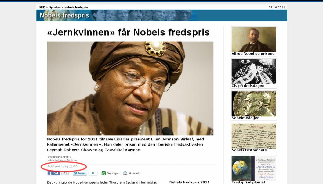 NRK var raskt ute med navnene på prisvinnerne. Faksimile fra nrk.no.
