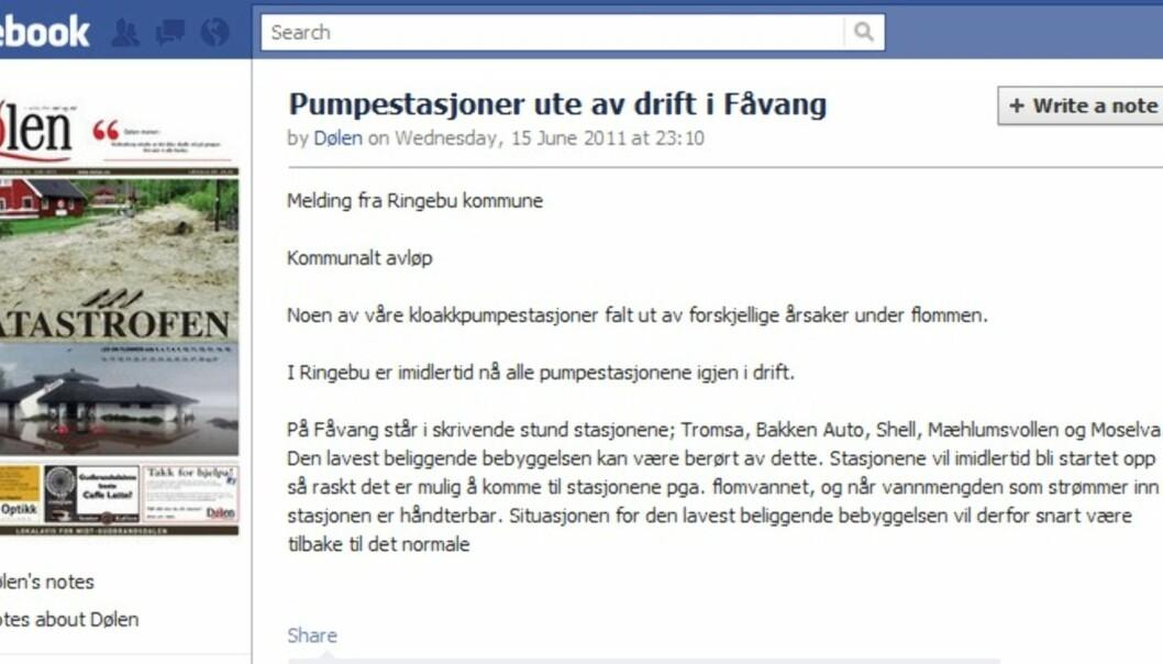 Oppdatering på Dølens Facebookside 16. juni (Skjermdump)