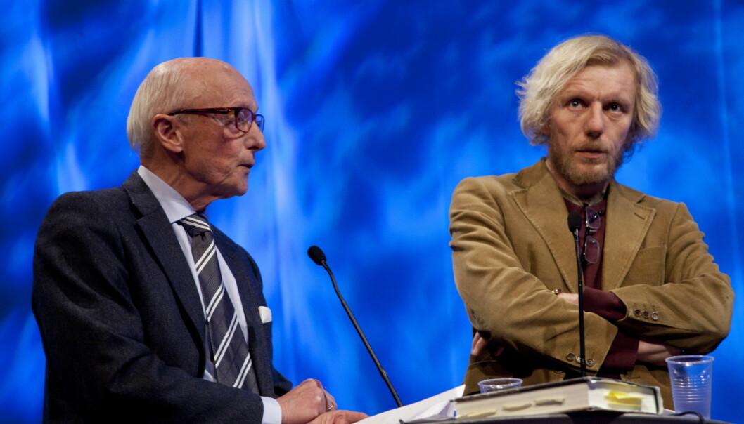 Bjørn Gabrielsen og Kåre Willoch diskuterte norsk dekning av Israel og Midtøsten. Foto:Kathrine Geard
