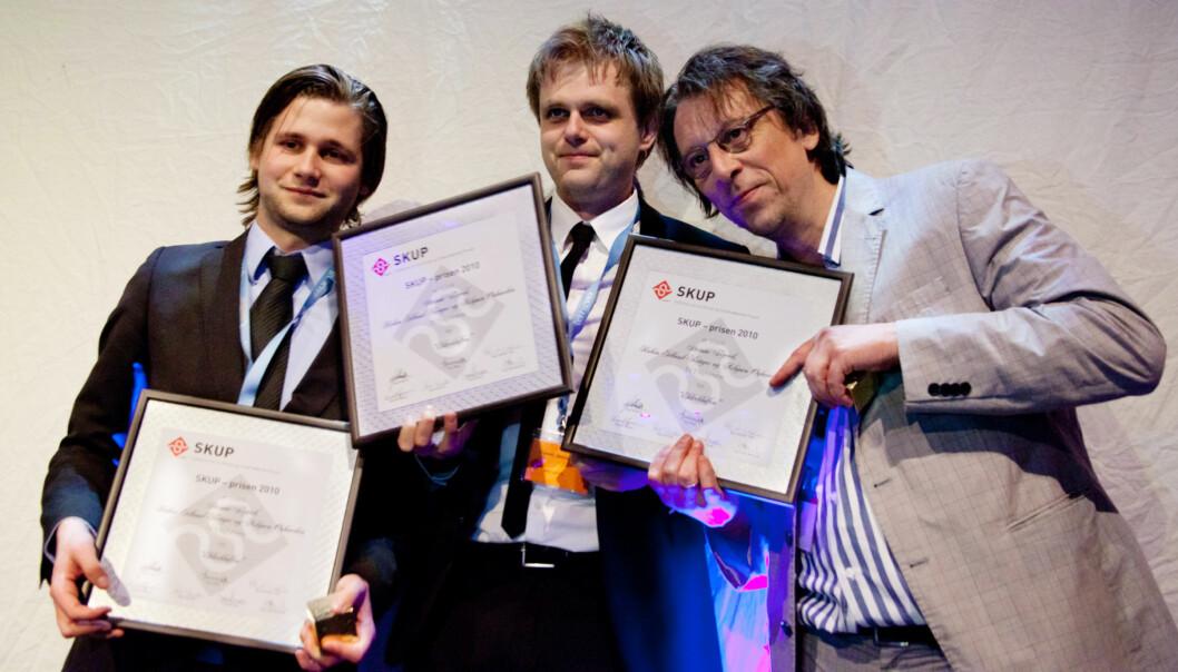 Skup-prisen gikk til TV2-reporterne Asbjørn Øyhovden, Steinar figved og Robin Idland Krüger. Foto: Kathrine Geard