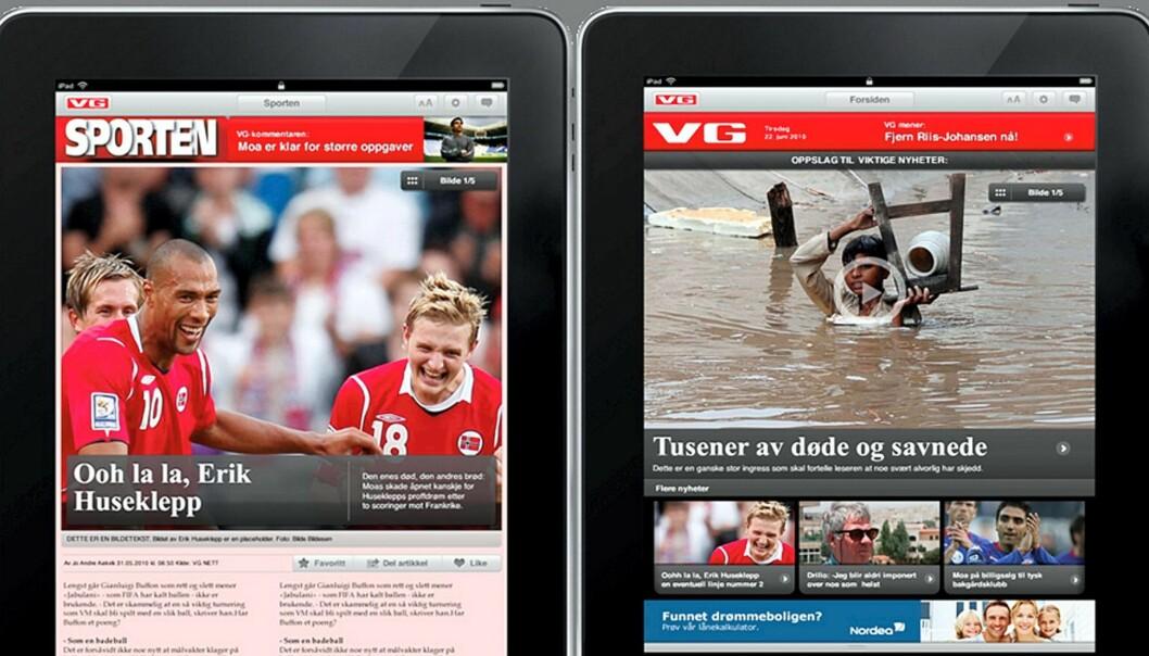 Skjermdump fra VGs iPad-utgave.