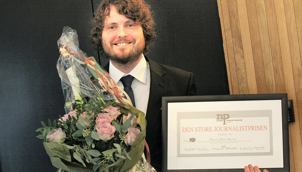 Bernt Jakob Oksens tildelt Den store journlistprisen 2010. Foto: Kathrine Geard