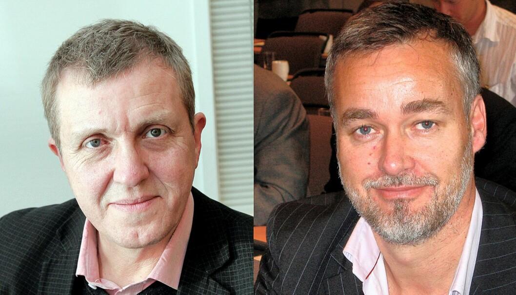 Jahn-Arne Olsen, generalsekretær i Norsk Journalistlag og Dagbladets Jan Omdahl. Foto: Birgit Dannenberg/Terje I. Olsson