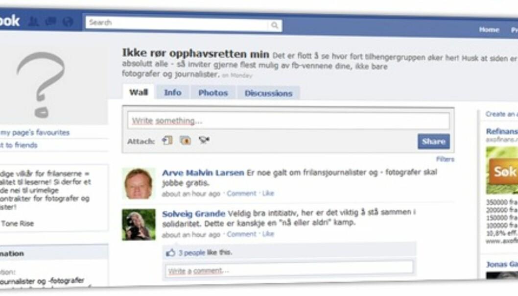 Faksimile fra frilansernes FB-side.