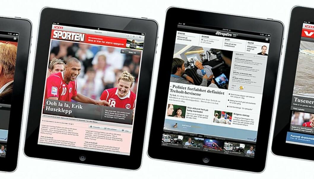 Dummyversjoner av Aftenposten og VG på iPad.