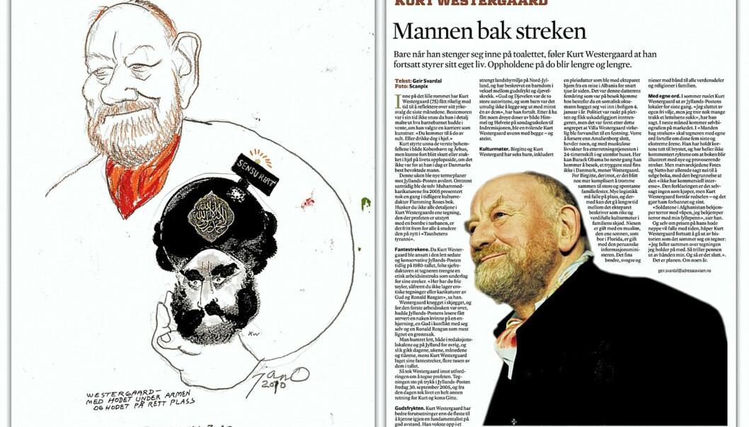 Tegningen til JanO ble erstattet med et fotografi av Kurt Westergaard.