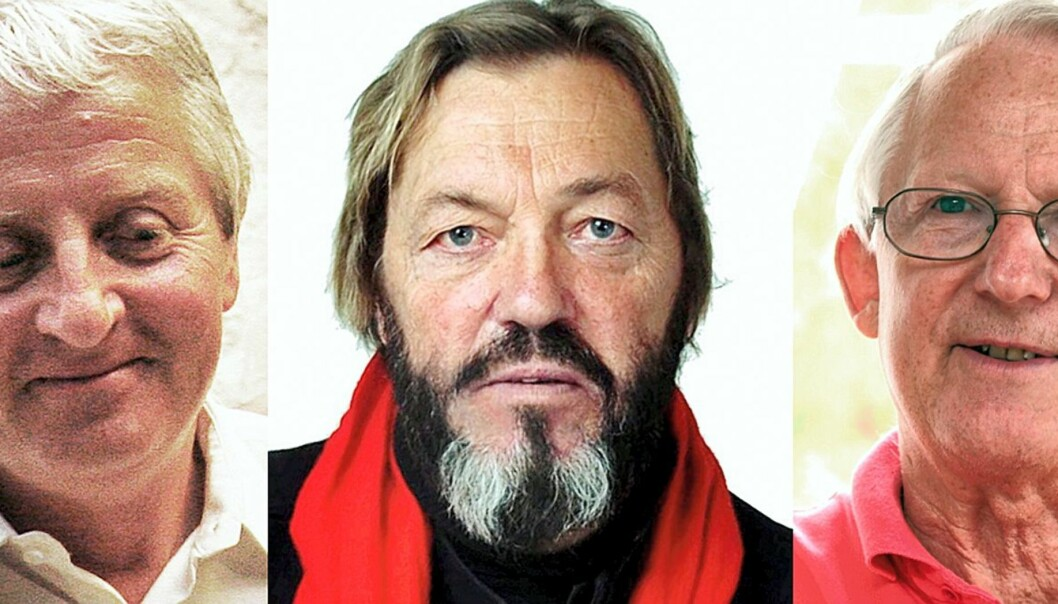 Roar Hagen (VG), JanO (Adressa) og Finn Graff (Dagbladet). Foto: Kathrine Geard/Jens Søraa (Adressa)/Birgit Dannenberg