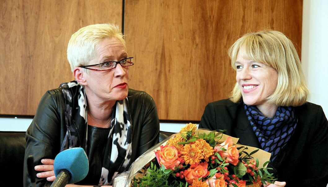 Anne Aasheim og kulturminister Anniken Huitfeldt. Foto: Wenche Nybo/Kulturdepartementet