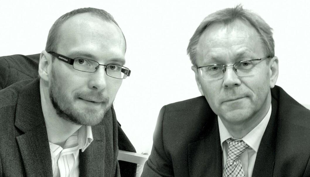 Rune Røsten (t.v.) fikk sparken som leder av DB Medialab våren 2007. 1. november samme år ble han leder av nystartede Nettby. John Arne Markussen er konsernredaktør i Berner Gruppen. Foto: Leif Gjerstad