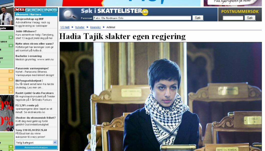 Faksimile fra VG Nett.